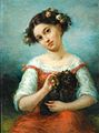 Girl Crowned with Roses, Holding a Dog.jpg