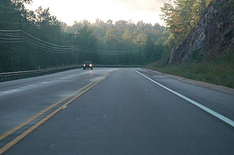 Michigan State Trunkline Highway System - M-553 approaching Glass' Curve south of Marquette