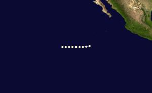 1963 Pacific hurricane season - Image: Glenda 1963 track