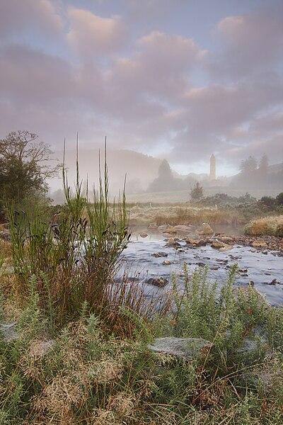 File:Glendalough - Tower in mist.jpg