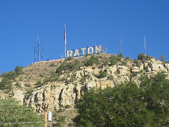 Raton, New Mexico - Raton sign located on a hill above the city (summer 2010)
