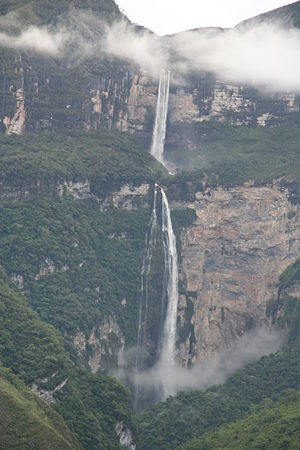 Gocta Cataracts - Clouds in front of waterfall