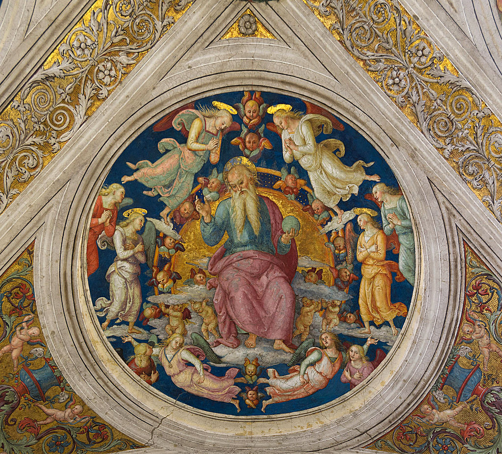 God the Father and angels, Pietro Perugino, Stanza dell'Incendio di Borgo, medalion, part of the ceiling, Vatican City 1.jpg