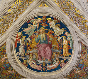Pietro Perugino - God the Father and angels by Pietro Perugino on the ceiling of Stanza dell'Incendio del Borgo