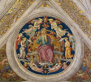 Pietro Perugino - God the Father and angels by Pietro Perugino on the ceiling of Stanza dell'Incendio del Borgo