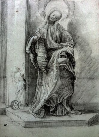 Matthias Grünewald - Sketch for a lost Saint Dorothy (Berlin). The J. Paul Getty Museum purchased a forged painting based on this drawing.