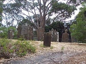 Isle of the Dead (Tasmania) - Image: Gravestones Isle of Dead Tasmania Port Arthur