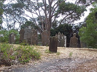 Isle of the Dead (Tasmania) - Image: Gravestones Isle of Dead Tasmania Port Arthur
