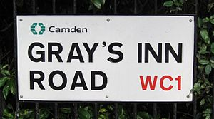 Gray's Inn Road - Image: Gray's Inn Rd sign