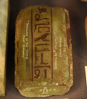 Abydos, Egypt - Green glazed faience weight, inscribed for the high Steward Aabeni. Late Middle Kingdom. From Abydos, Egypt. The Petrie Museum of Egyptian Archaeology, London