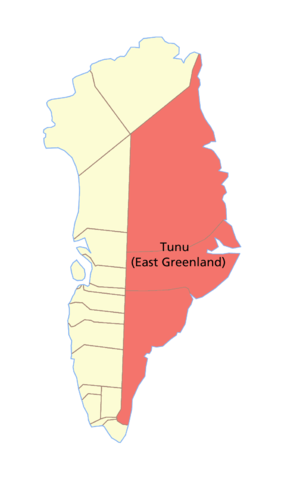 Tunu - Map of East Greenland.