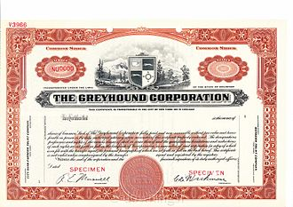 Greyhound Lines - 1936 stock certificate number 0000