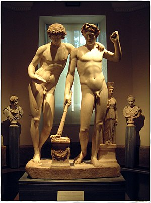 Gemini (constellation) - Sculpture showing Castor and Pollux the legend behind the third astrological sign in the Zodiac and the constellation of Gemini