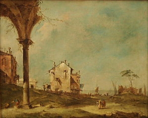 Fantasy Landscape with Buildings by a Lagoon