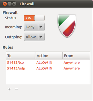 Firewall (computing) - Screenshot of Gufw: The firewall shows its settings for incoming and outgoing traffic.