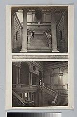 Interior do Edifício Monumento do Ipiranga: Bezzi na escadaria central e andar superior visto a partir da escadaria central