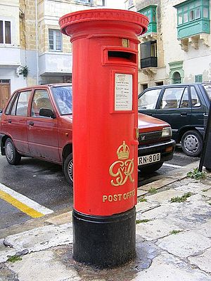 MaltaPost - Colonial pillar box in Senglea.