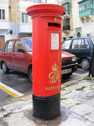 MaltaPost - Colonial pillar box in Senglea.