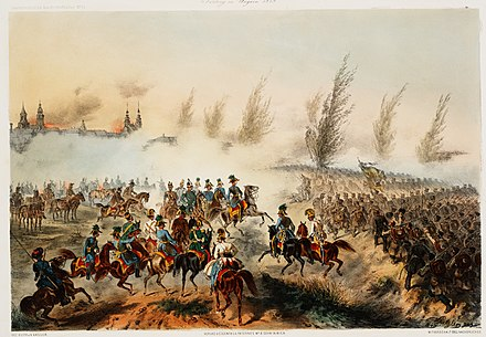 The Battle of Gyor on 28 June 1849. Franz Joseph enters in Gyor leading the Austrian troops. Gyori csata.jpg