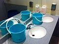 HK SWCC Toilet Sept-2013 blue 淺監色 Plastic buckets 膠水桶 water container n washing hand sinks 洗手液 Liquid hand soap Taps mirror.JPG