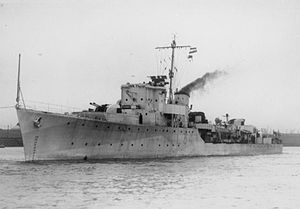 1948 Summer Olympics torch relay - HMS ''Bicester'', which carried the torch across the English Channel to Dover