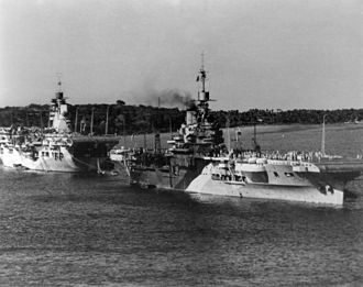 HMS Unicorn (I72) - Image: HMS Unicorn (I72) and carrier 1944