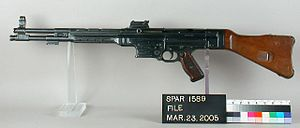 StG 44 - The early Haenel MKb 42(H), the precursor to the MP 43/44. This example belongs to the Springfield Armory National Historic Site.