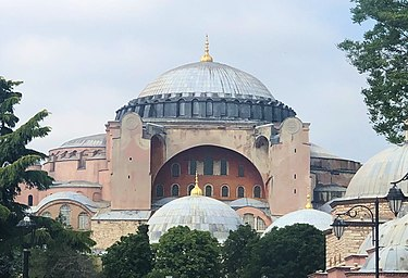 The Church of Justinian I today. Hagia Sophia in Istanbul (focused on the original Roman building).jpg