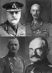 Collage of four monochrome portrait faces of military officers in General Staff uniforms. Top left officer with moustache and General Staff cap, other three officers without head-dress. Lower two portraits in German General Staff uniform while top two portraits in British General Staff uniform.
