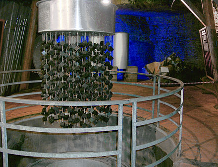 Replica of the Uranverein's German experimental nuclear reactor at Haigerloch captured by the Alsos Mission Haigerloch-nuclear-reactor ArM.JPG