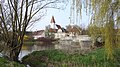 Harburg, DON - Ebermergen - Wörnitzbrücke, Kirche, Gh z Brücke v O 01.jpg