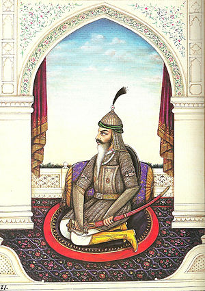 "Hari Singh Nalwa - ""Hari Singh Nalwa seated in full armour and adopting a military stance""-copy of a native painting by Sir John Mcqueen"