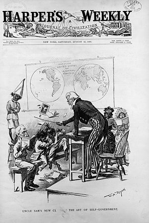 School discipline - A Harper's Weekly cover from 1898 shows a caricature of school discipline.