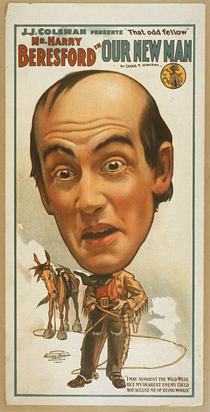 Harry Beresford - Theatrical poster for Harry Beresford in Our New Man (c. 1904)