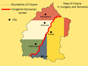 Crișana - Map of Crişana in Romania and Hungary