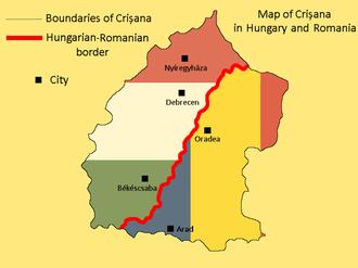 Crișana - Map of Crişana in Romania and Hungary