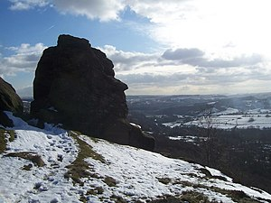 Froggatt Edge - The Head in winter, and the view from Froggatt Edge
