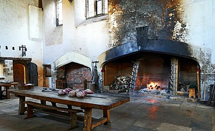An original Tudor roasting hearth in the Great Kitchens at Hampton Court Palace, Richmond upon Thames, Greater London. Hearth.jpg