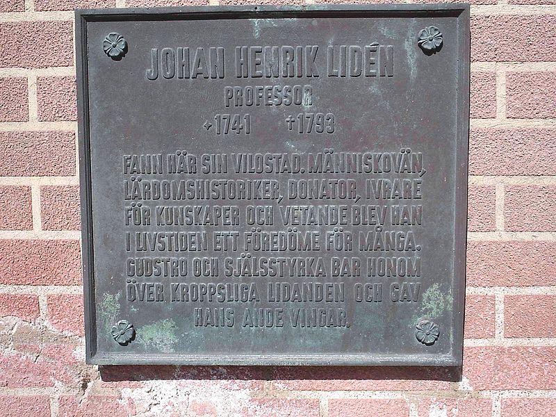Minnestavla över Johan Henrik Liden