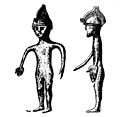 Helmeted bronze figurine, Bronze Age. Wellcome M0015078.jpg