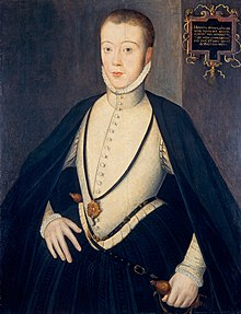 Oil painted portrait of Lord Darnley in his late teens, by an unknown artist. The portrait is in the National Galleries of Scotland.