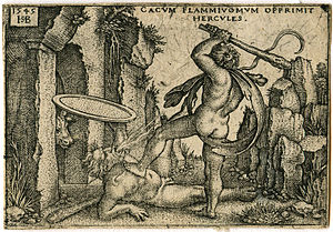 Cacus - Hercules killing the fire-breathing Cacus, engraving by Sebald Beham (1545).