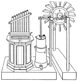 Water organ - A modern reconstruction of the wind organ and wind wheel of Heron of Alexandria