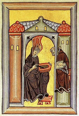 Vision (spirituality) - Illumination from Liber Scivias, showing Hildegard of Bingen receiving a vision, dictating to her scribe and sketching on a wax tablet.