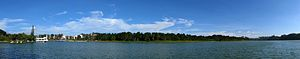 Da Lat - A panorama image of Xuan Huong Lake.