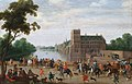 Hofvijver, viewed from Buitenhof, by Dutch school of the 1630s.jpg