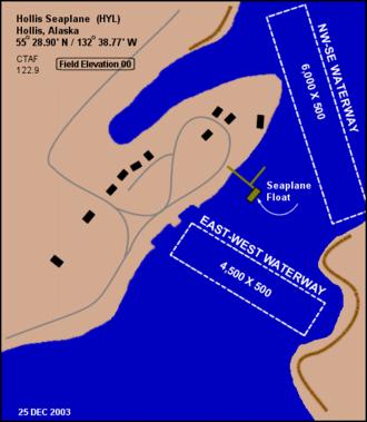 Seaplane base - A diagram of the Hollis Seaplane Base located in Hollis, Alaska