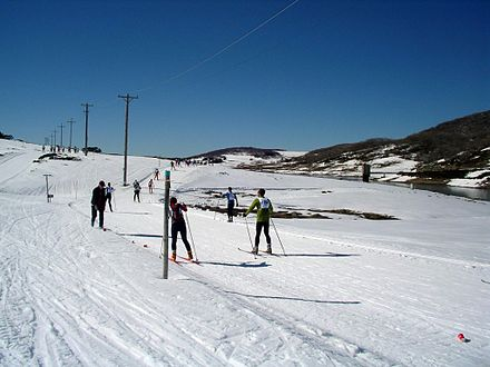 The Kangaroo Hoppet, an annual 42km Cross Country Ski Race, at Falls Creek, Victoria. Hoppet-2005-sun-valley.jpg