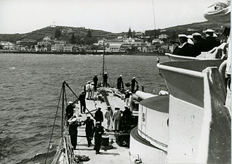 Horta, Azores - A view of Horta harbour from the SMS Schlesien before the outbreak of World War 2