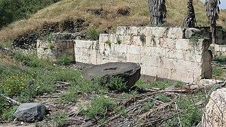 Khirbat al-Minya - A section of a wall from Minya palace